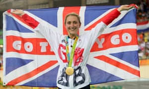 Great Britain's cyclist Laura Trott on the podium after winning gold in the Women's Omnium.