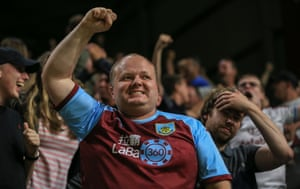 Burnley fans celebrate Jack Cork's goal.