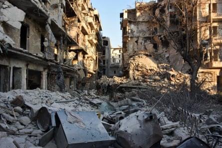 Thebomb-damaged Bustan al-Basha district of Aleppo in November