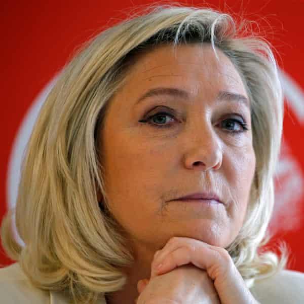 Headshot of Le Pen in pensive mood