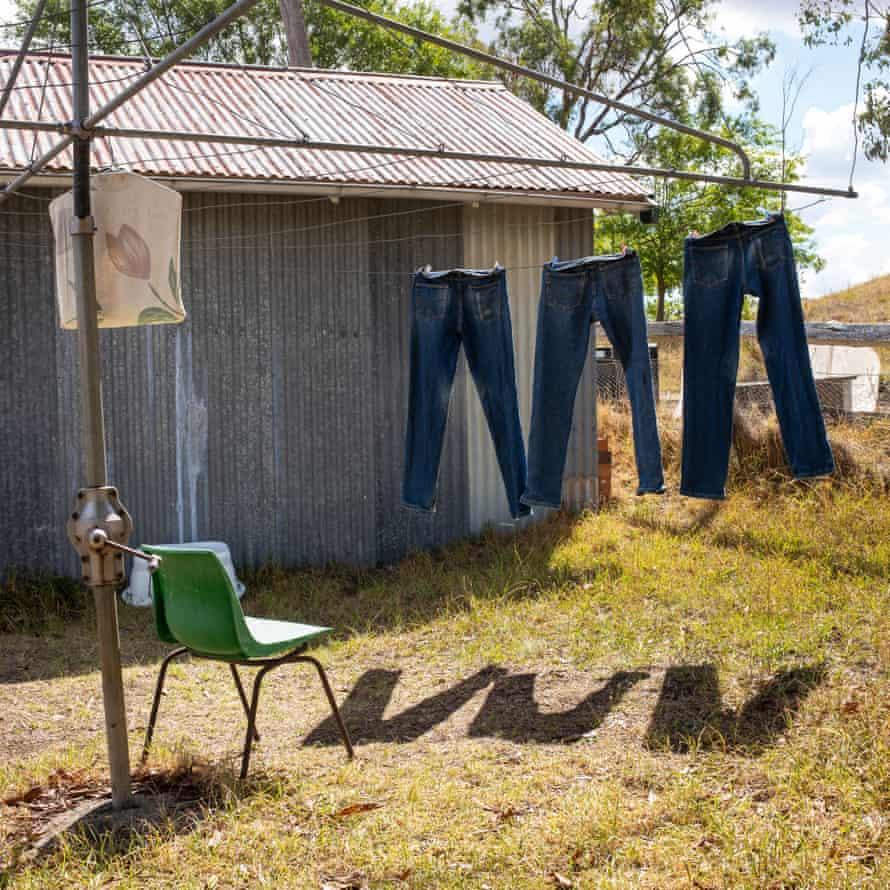 Jeans drying, Danthonia community, Australia