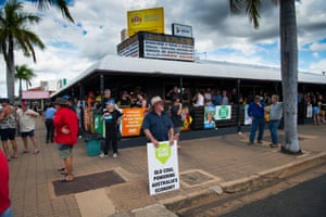 Pro mining protesters spill out onto the street in front the Grand Hotel in Clermont