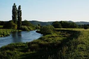The River Arun flowing through Waltham Brooks reserve, West Sussex.