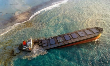 Grounded carrier off Mauritius breaks apart risking ecological disaster