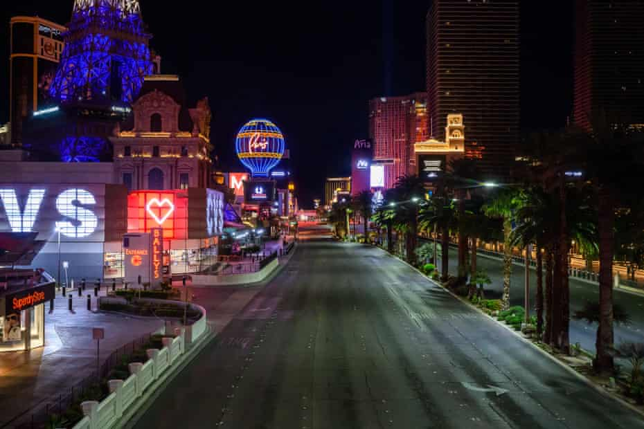 The Las Vegas Strip sits empty with all businesses shuttered due to Covid-19 in Las Vegas, NV on March 30th, 2020.