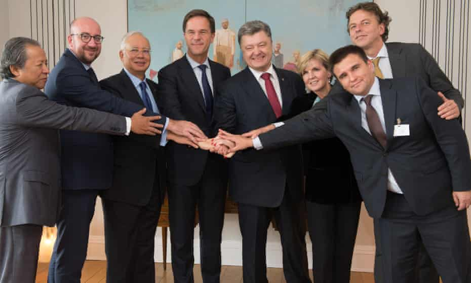 Julie Bishop with leaders of Malaysia, the Netherlands, Ukraine at a meeting about the MH17 crash at the UN