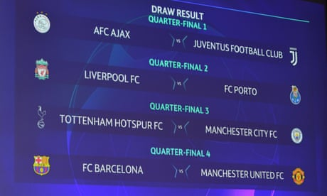 Champions League draw pits Spurs against Man City and Man Utd with Barcelona