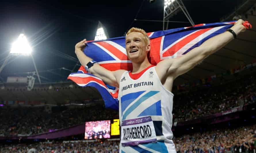 Greg Rutherford celebrates winning long jump gold at the 2012 Olympics in London.