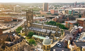 the view of Manchester Cathedral from the Wheel of Manchester.