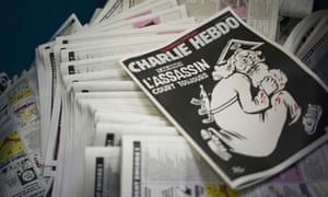 The anniversary edition of the French satirical magazine Charlie Hebdo at a printing house near Paris.