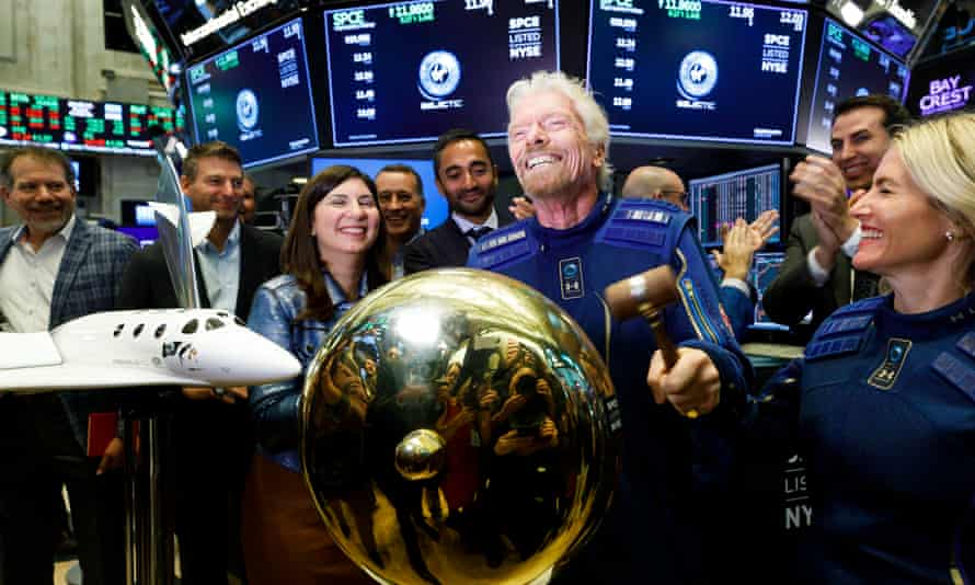 Ringing endorsement: Richard Branson sounds a ceremonial bell at the New York Stock Exchange to celebrate the first day of trading of Virgin Galactic Holdings shares, 28 October 2019.