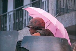 A trooper from the 9th Division photographed at the Y Bridge, during the Tet offensive of 1968 in Saigon, Vietnam