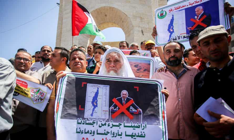 Palestinians in Gaza protest against Israel's plans to annex parts of the West Bank in Gaza, Palestine on 11 June.