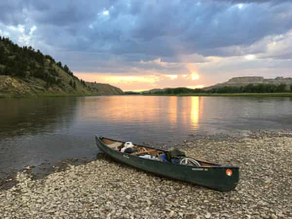 Bart Smith's canoe on the Upper Missouri river during his hike of the Lewis and Clark Trail.