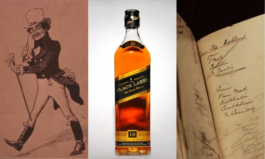 One of Tom Browne's first sketches of the famous striding man figure, a bottle of Johnnie Walker and Alexander Walker's blending notebook.
