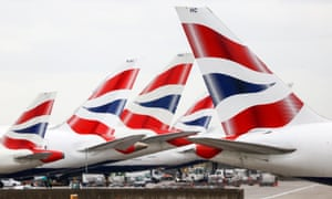 A passenger aircraft operated by British Airways at Heathrow airport in London.