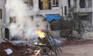 A homemade weapon used by Syrian rebels to attack PYD positions in Aleppo