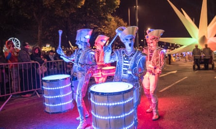 Performers at Derry's Halloween Parade. Ireland.