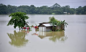 A partially submerged house is seen at the flood-affected Mayong village in Morigaon district, in the northeastern state of Assam, India on 29 June.