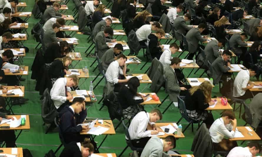 Students sitting GCSE mock exams