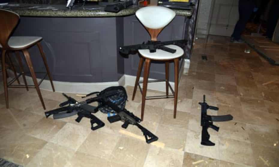 The kitchenette in the hotel room of Las Vegas gunman Stephen Paddock's 32nd floor room of the Mandalay Bay hotel in Las Vegas.