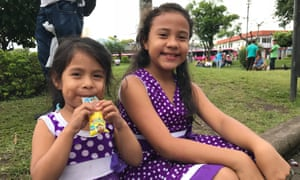 Children forced to flee Nicaragua with their parents outside the Our Lady of Mercy church.