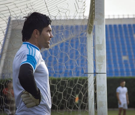 Sarhank Mohsin, goalkeeper and vice-captain of the Kurdistan football team, training in Irbil.