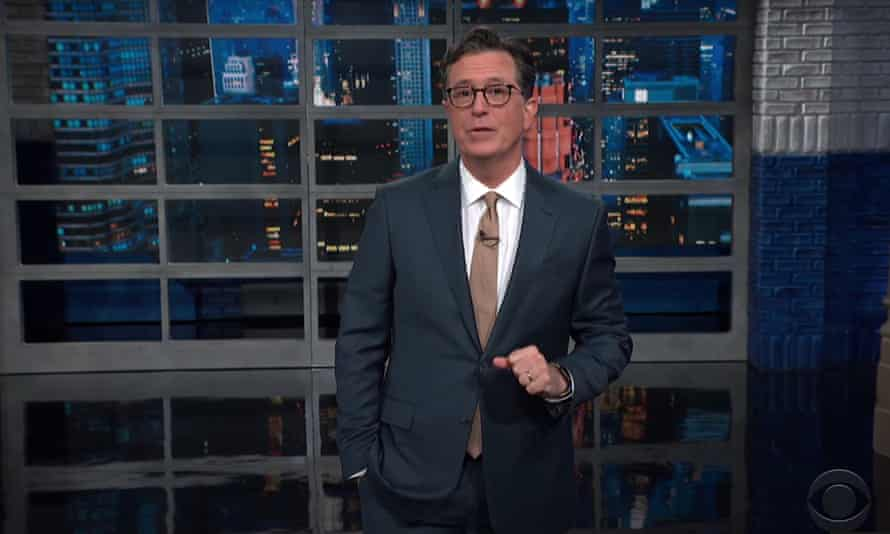 """Stephen Colbert on news that Trump suggested sending Americans infected with Covid to Guantánamo Bay in February 2020: """"Enjoy your beach day with complimentary head sack, then hit the bar for bottomless piña co-water boarding."""""""