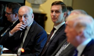 John Kelly, Jared Kushner and Donald Trump at a meeting with Spain's prime minister on 26 September 26 2017.