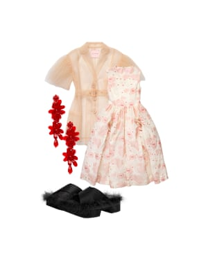 Tulle jacket, £69.99, dress, £199, earrings, £34.99, and shoes, £179, all Simone Rocha x H&M at hm.com