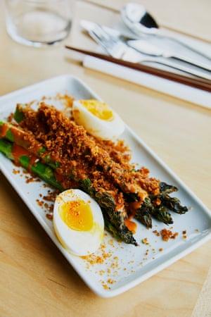 Woky Ko Kaiju, Bristol: asparagus 'in a peanut-buttery gado gado-style gloop'.