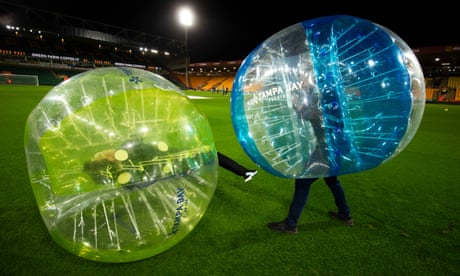 The Dozen: flares, zorbs and Maddison's delight – the best Premier League pics