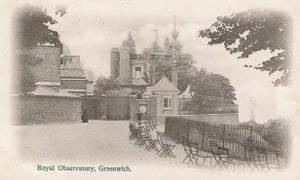 The Royal Observatory, Greenwich, in an early 20th-century postcard. Note the closed gates.