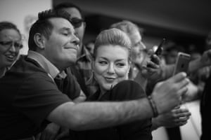 Sheridan Smith poses with a fan