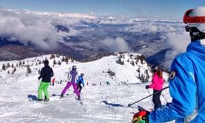 The pistes above Andalo, Trentino.