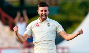 Mark Wood celebrates the dismissal of Shannon Gabriel on day two of the third Test in St Lucia