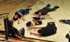 actors taking part in a police drill simulating an armed attack on the Trafford Centre in Manchester