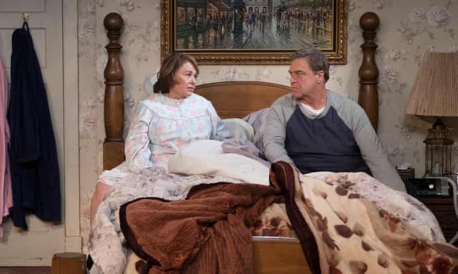 Roseanne Barr and John Goodman in Roseanne. The sitcom has been cancelled following a racist tweet.