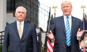 """US secretary of state Rex Tillerson, left, is a proponent of geoengineering and once referred to climate change as """"just an engineering problem""""."""