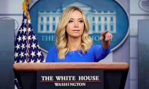 White House press secretary Kayleigh McEnany takes a question in the briefing room of the White House on Thursday.