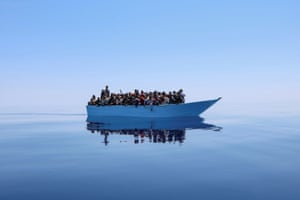 Mediterranean Sea Migrants in the Mediterranean await rescue by members of the Doctors Without Borders organisation