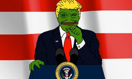 Pepe, a symbol used by the 'alt right', in character as Donald Trump.