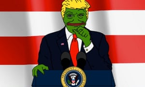A meme combining Donald Trump with the favourite alt-right character Pepe the Frog