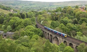 A Manchester-bound Transpennine express train crossing the viaduct at Brownhill, Dobcross.