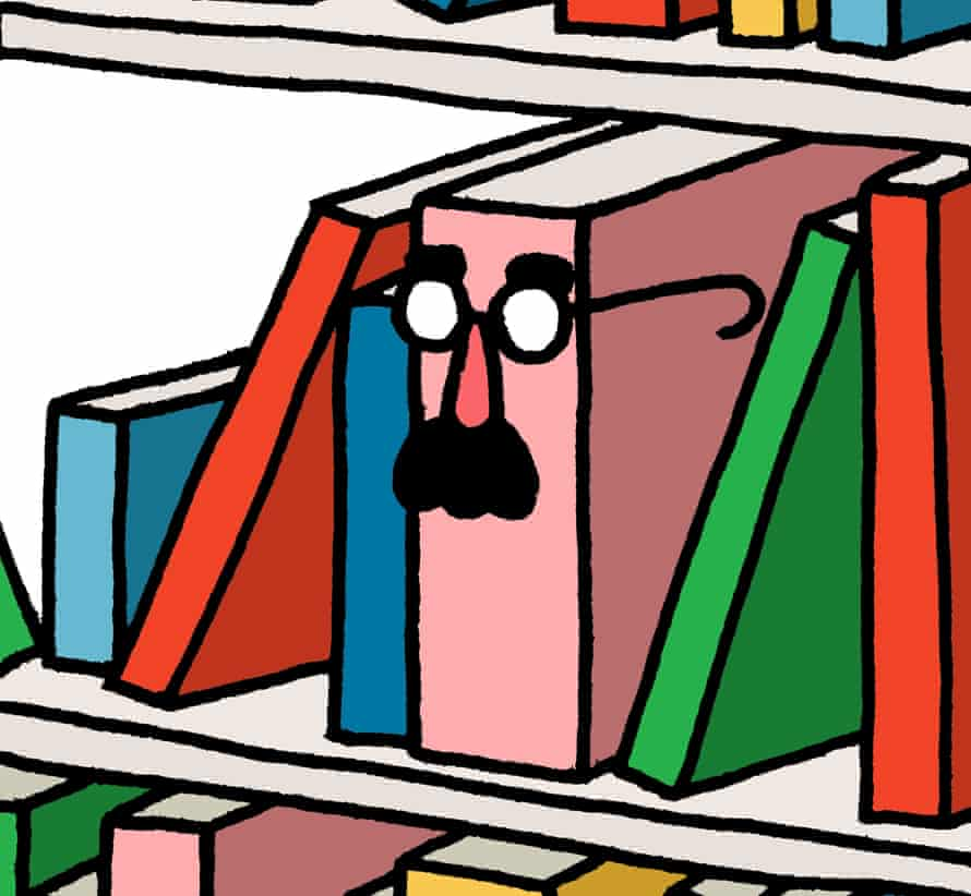 Leon Edler illustration of a book on shelves with comic Groucho Marx spectacles and nose