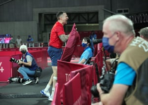 Will Bayley of Great Britain celebrates after the table tennis men's singles class 7 semifinal against Liao Keli of China.