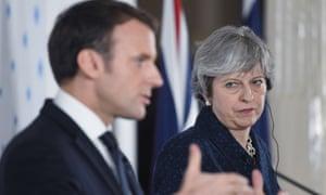 Theresa May and Emmanuel Macron at their press conference.