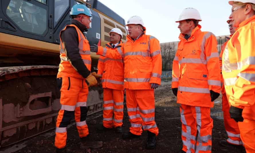 Boris Johnson on a visit to Curzon Street railway station in Birmingham, where the HS2 rail project is under construction, on Tuesday 11 February 2020