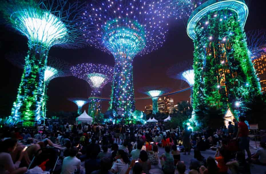 People watch a light display during activities to mark May the 4th Star Wars Day at Gardens by the Bay in Singapore 4 May, 2017.