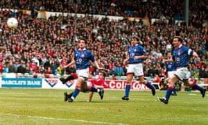 Oldham were seconds away from reaching the FA Cup final when Manchester United's Mark Hughes (grounded) denied them with a superb equaliser in the 1994 semi-final.